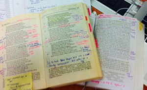 """How my English texts always look when I'm done with them. The thought process behind them always being: """"What does this mean...?"""""""
